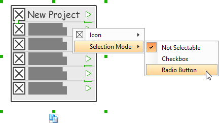 Adjusting the selection mode for a specific menu item