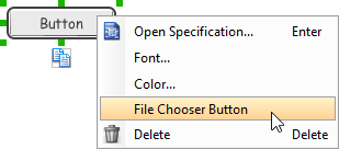 Changing a button to a file chooser button