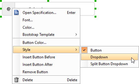 Setting a button as dropdown button