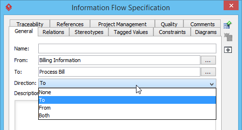 Setting the direction of an information flow