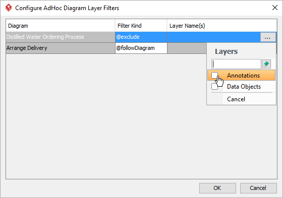 Select the layer to exclude