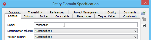 Entering the name of entity domain
