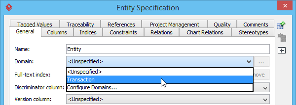 Selecting an entity domain