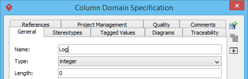 Entering the name of column domain