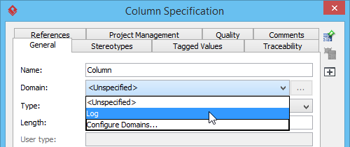 Selecting an column domain