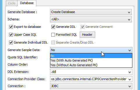 Setting the Generate Sample Data option