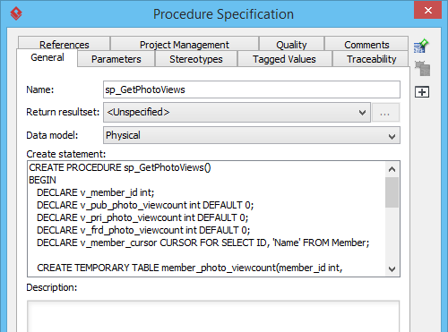 Create statement of stored procedure