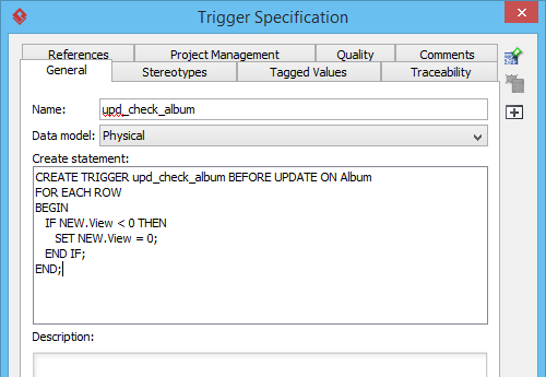 Create statement of trigger