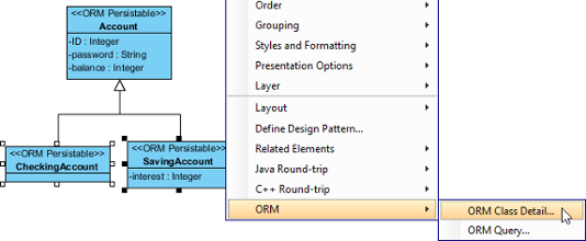 To edit ORM class detail