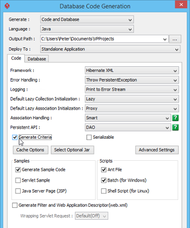 Checking Generate Criteria in Database Code Generation window