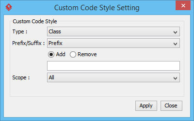Custom code style setting