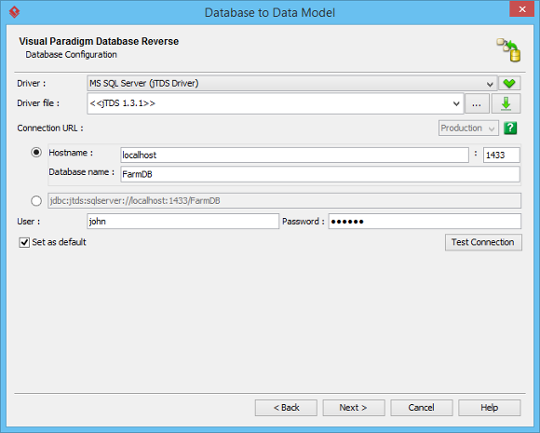 Configure database connection