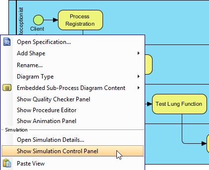 Opening Simulation Control Panel
