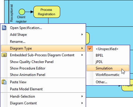Set diagram's type to Simulation