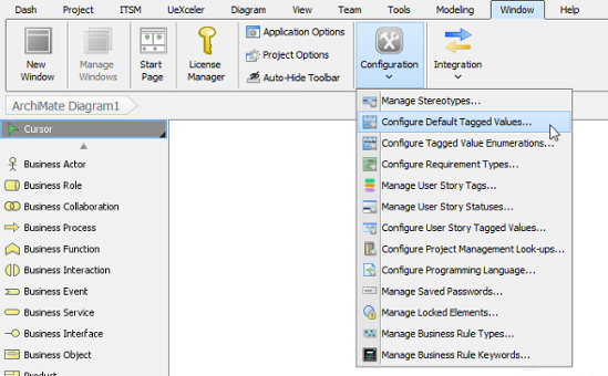 To configure default tagged values