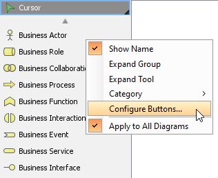 To configure diagram toolbar's buttons