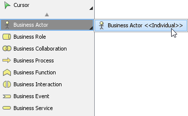 To create an specialized ArchiMate Actor from diagram toolbar