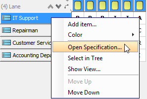 Open Lane's Specification dialog box