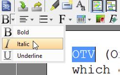 Click Italic button