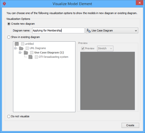 Check an option in Visualize Model Element window