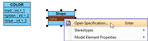 Opening the attribute specification