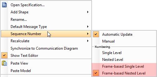 Frame-based pop-up menu