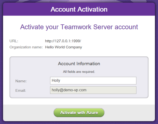 Activating Teamwork Server account