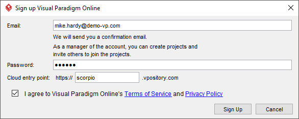 Signing up Visual Paradigm Online