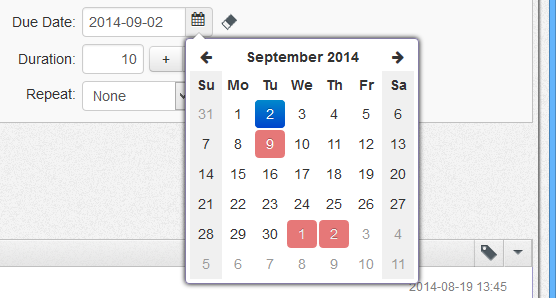 Date picker with non-working days painted in gray, holidays painted in red