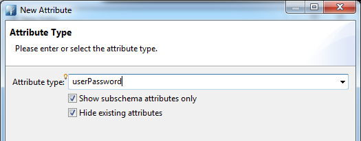 Selected userPassword as attribute type