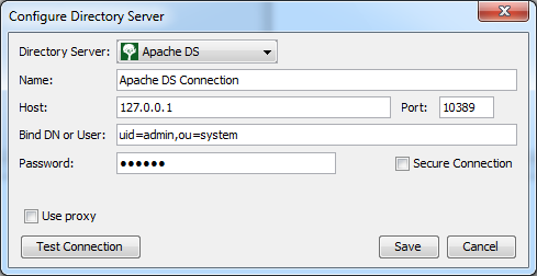 Configuring ApacheDS connection