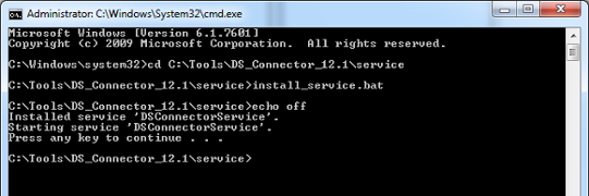 Installing DS Connector as system service