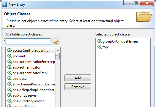 groupOfUniqueNames added to the list of selected object classes