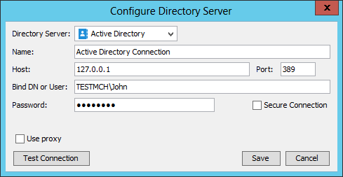 Configuring Active Directory connection