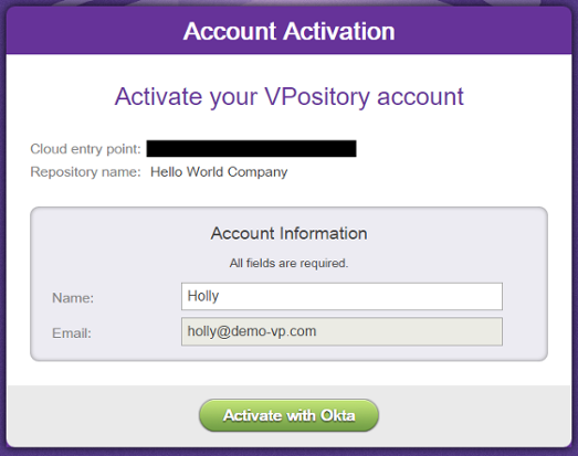 Activating VPository account