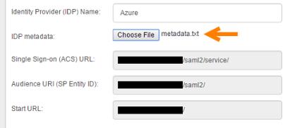 IDP metadata uploaded