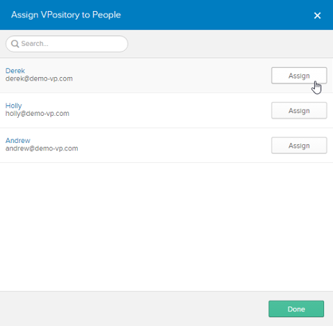 Assigning VPository (application) to people