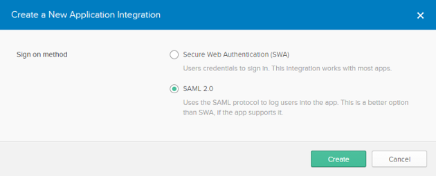 Creating an application with SAML 2.0 as sign on method