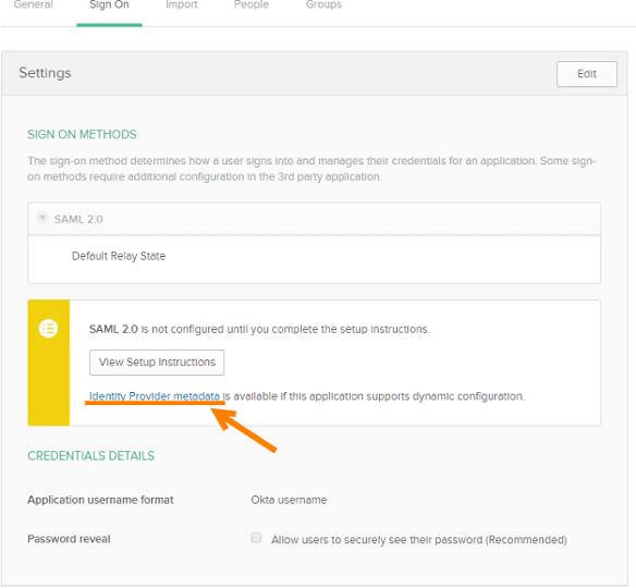 Download Identity Provider metadata