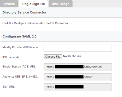The Single Sign-On page of VP Online
