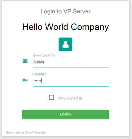 Logging into VP Server as administrator