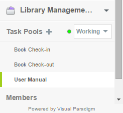 """Working"" Task Pools listed under Left Pane"