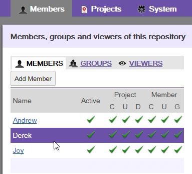 Selecting a member