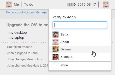 Select a team member to verify your work