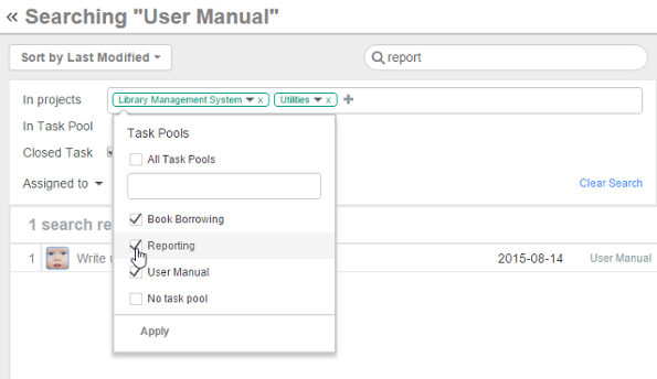 Search Task Pools