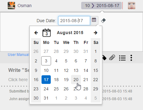 Selecting the due date from calendar