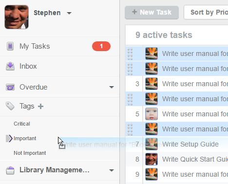 Drag tasks to tag